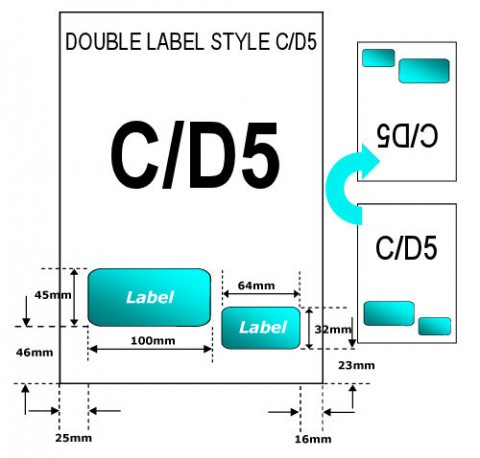 A4 Integrated Easy Labels - Style C/D5 - DOUBLE LABEL