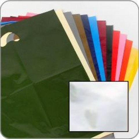 "Clear Quality Punch Handle Coloured Carrier Bags 8"" x 12"""